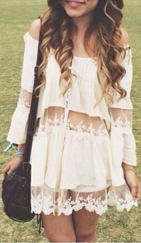 Fancy Lace Boho Dress I would wear this with capris jeans u strappy shoe