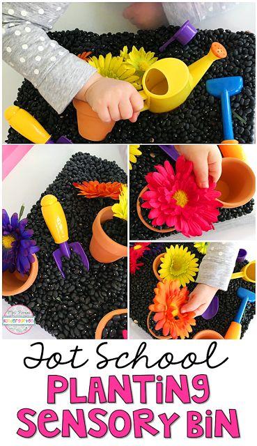 This Planting Sensory Bin is perfect for spring in tot school, preschool, or the kindergarten classroom.