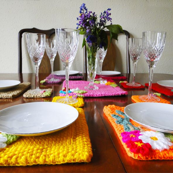 Pink Warm Rainbow  Floral Luxury Square Table Mats