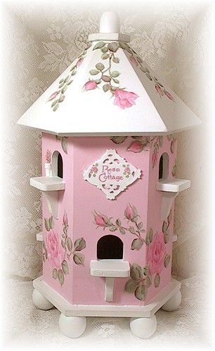 Sweet Romantic Cottage Birdhouse w/ Hand Painted Roses