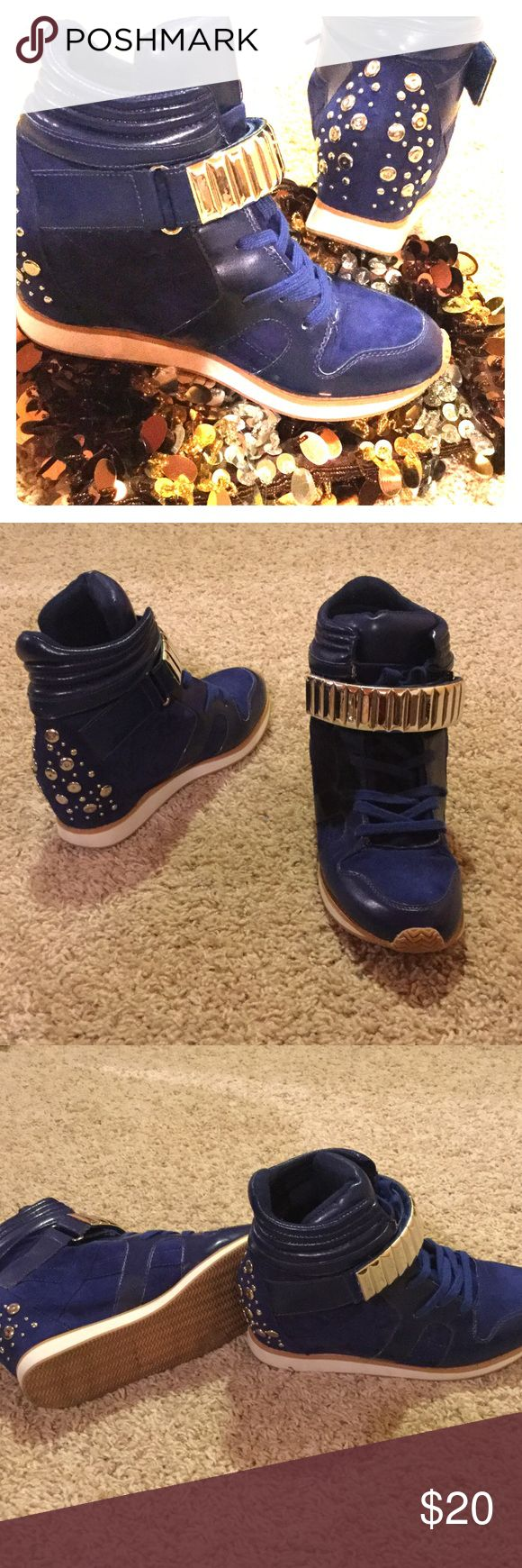 ❄️SALE⛄️🌲Blue Studded Qupid Wedge Sneakers Royal blue and silver. Wedge Sneakers - Women's Shoes On Trend: Atheletic Material: All Manmade Materials. Hidden Wedge Inside. Width: medium. Worn once. Qupid Shoes Sneakers