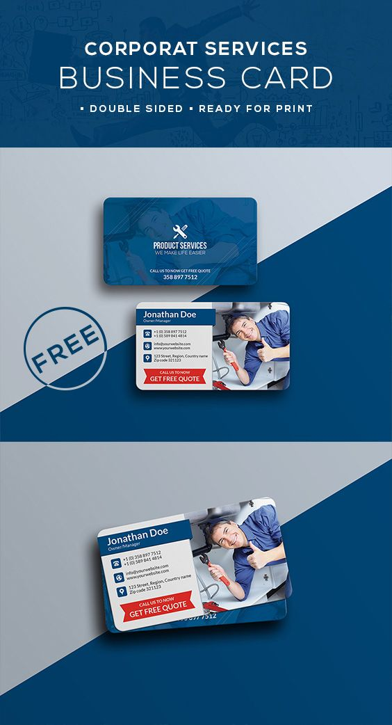 Free Services Business Card Template Psd