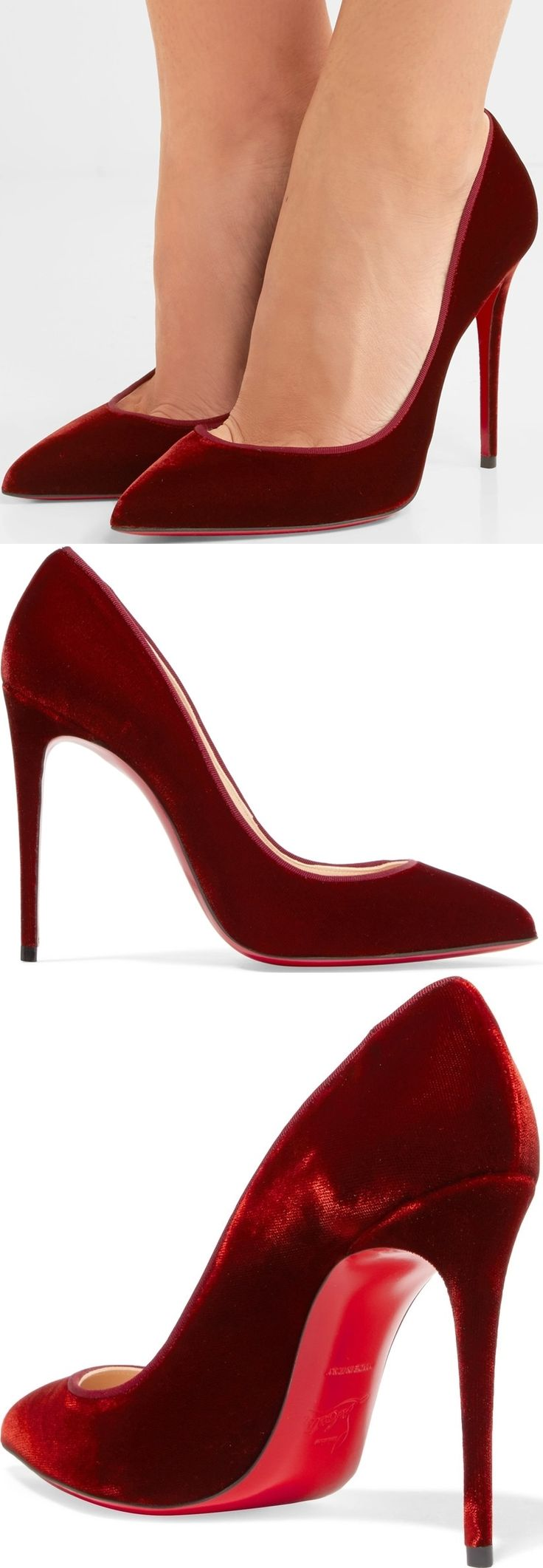 One of Christian Louboutin's most iconic styles, the 'Pigalle Follies' pumps are named after the designer's favorite Parisian quarter. This point-toe pair has been crafted in Italy from soft burgundy velvet. They're lined in leather for a smooth fit and undoubtedly finished with the label's signature scarlet sole.