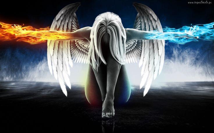 Kobieta, Anioł, Skrzydła, Ogień, Woda