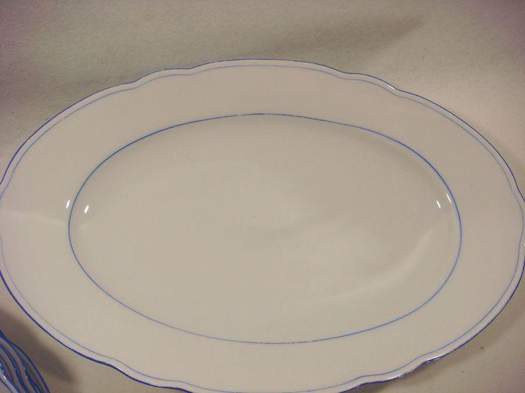 Vintage Schalen - Ovale Servierplatte,Feston,blauer Wellenrand, - ein Designerstück von oldtimes bei DaWanda