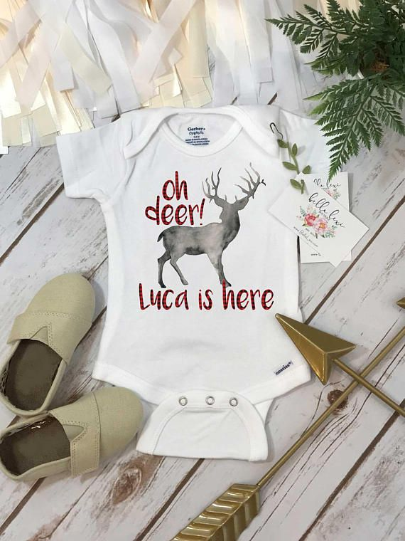 355 best baby shower gift ideas images on pinterest personalized onesie custom name gift oh deer im here baby negle Images