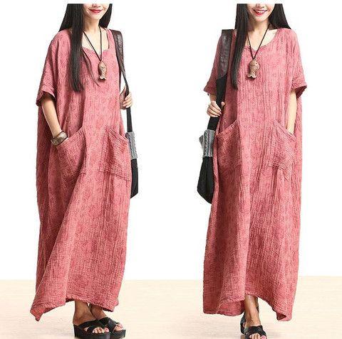 Plus Size Cotton Linen Maxi Dress Loose Fitting Bat Sleeve Summer Dres – Buykud