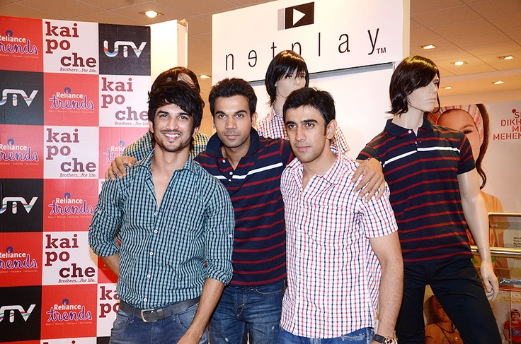 Sushant Singh Rajput, Amit Sadh and Raj Kumar Yadav launch the KAI PO CHE collection at Reliance Trends store in Infiniti Mall.