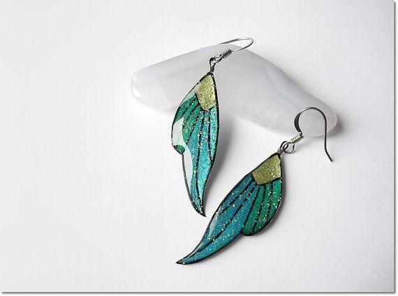 Long butterfly wings earrings dangle by AquascentCreations on Etsy