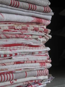 old red and white French linens