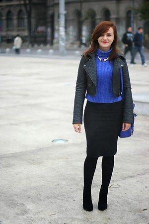 blue OASAP bag - black ankle Zara boots - black pencil asos skirt