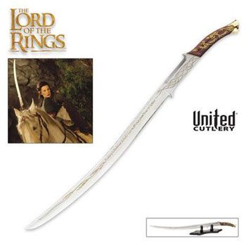 Arwen Evenstar Swords for sale are exact replicas of the Hadhafang seen in the Lord of the Rings movies. This is a limited run with only a small number of these swords being made. They measure 38 1/8th inches in all. The 30 inch sharpened blade has runes laser etched upon it. The blade is crafted of 420-stainless steel. They include a Certificate of Authenticity identifying them as part of the collection of officially licensed collectibles from the Lord of the Rings movies and The Hobbit…