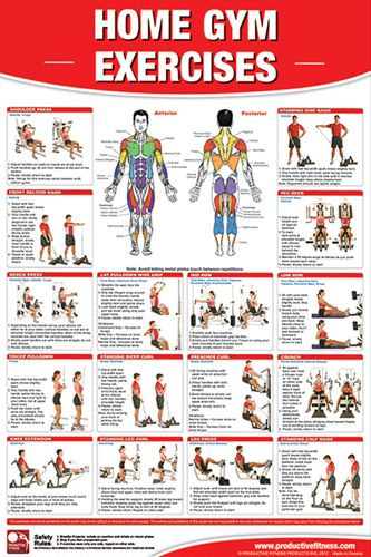 Home gym exercises poster and charts on pinterest
