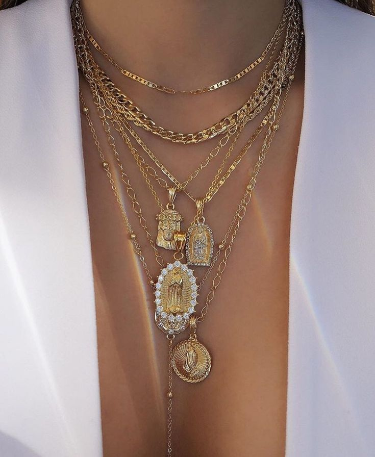 Layered Gold Pendant Necklace With Cross And Icon Chains 90s Fashion Street Style Jewellery For Women
