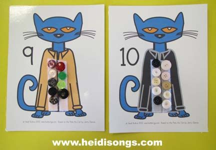 Heidisongs Resource: A Pete the Cat Freebie- velcro buttons make this for small group