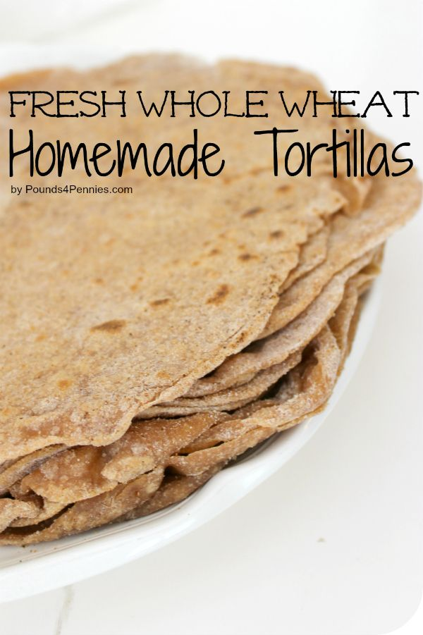 Make your own fresh whole wheat homemade tortillas! SO good you will never buy them from the store again.