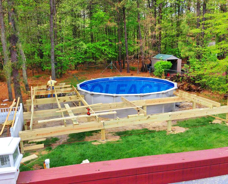 Building a deck around your aboveground pool - How to make a cheap swimming pool ...