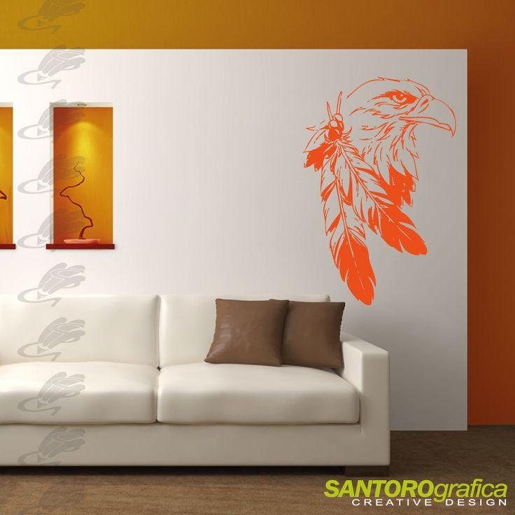 aquila con piume indiane - adesivo murale - realizzato in vinile prespaziato specifico per applicazioni murali