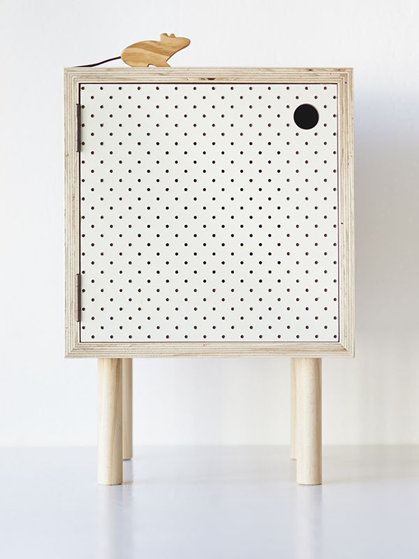 Bedside Table – Ply and white pegboard   Home Base Collections
