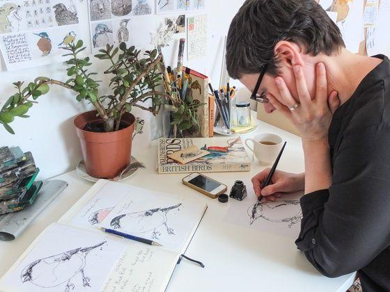 Jenny Mccabe Busy drawing in her studio Handprinted artwork Bird drawings www.jennymccabe.co.uk
