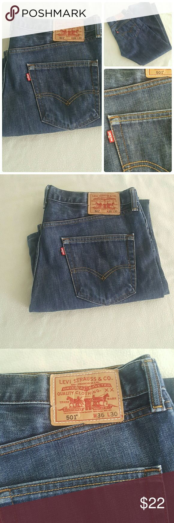 Levi's 501 button fly jeans Levi's 501 button fly jeans.  Slight wear. Measured waist 36 inches. Length 30 inches. See photos for wear Levi's Jeans Relaxed