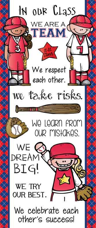 BASEBALL Theme Classroom Decor/ Character Education Banner / Large / In Our Class/ blue / JPEG / graphics by Melonheadz / ARTrageous FUN