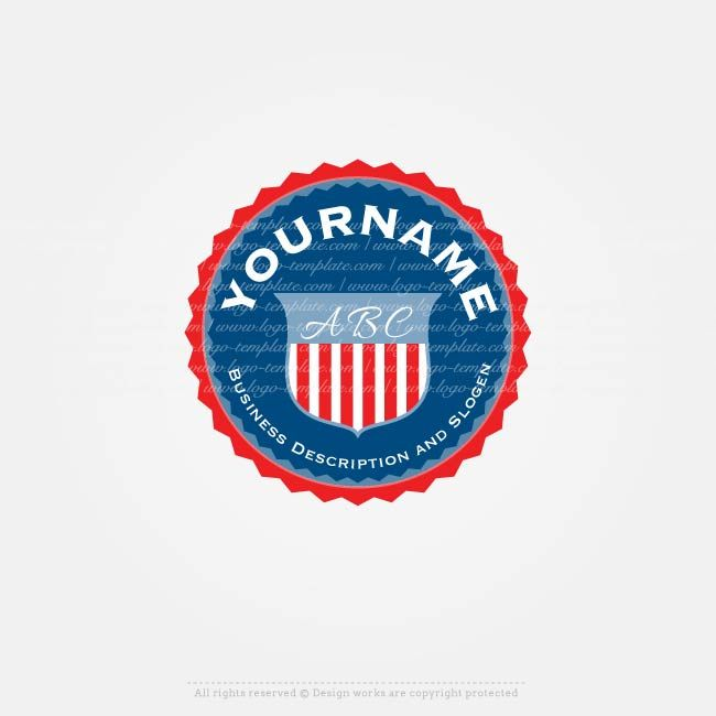 Create a Logo Template, Ready made Alphabet USA Logo template with  a United States of America Medal logo design.  U.Scompany logo, a logo in the United States, English Logos with an American flag.Use our logo creator to design yourownlogo online, change company name, slogan, colors,