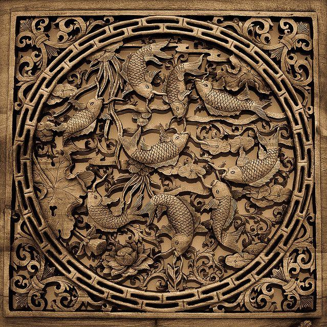 koi wood carving