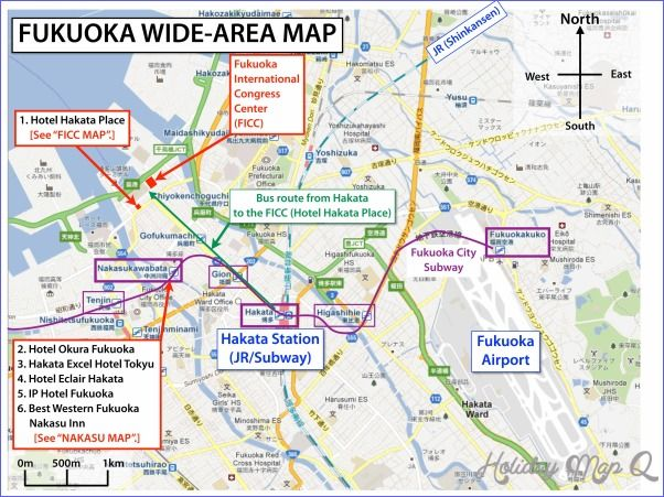 nice Fukuoka Map Tourist Attractions Holidaymapq Pinterest