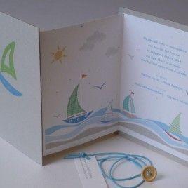 craftroom αγορίστικο προσκλητήριο βάπτισης καραβάκια θάλασσα