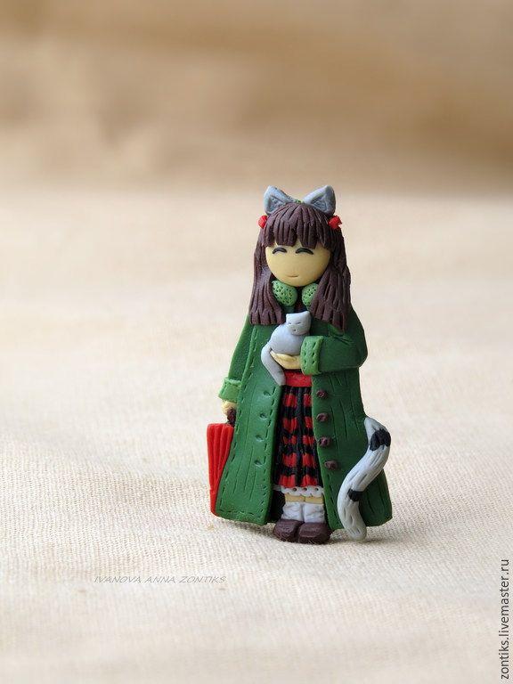"""Купить Брошь Девочка """"Мой маленький котенок"""" - разноцветный, девочка брошь, брошь для девочки"""