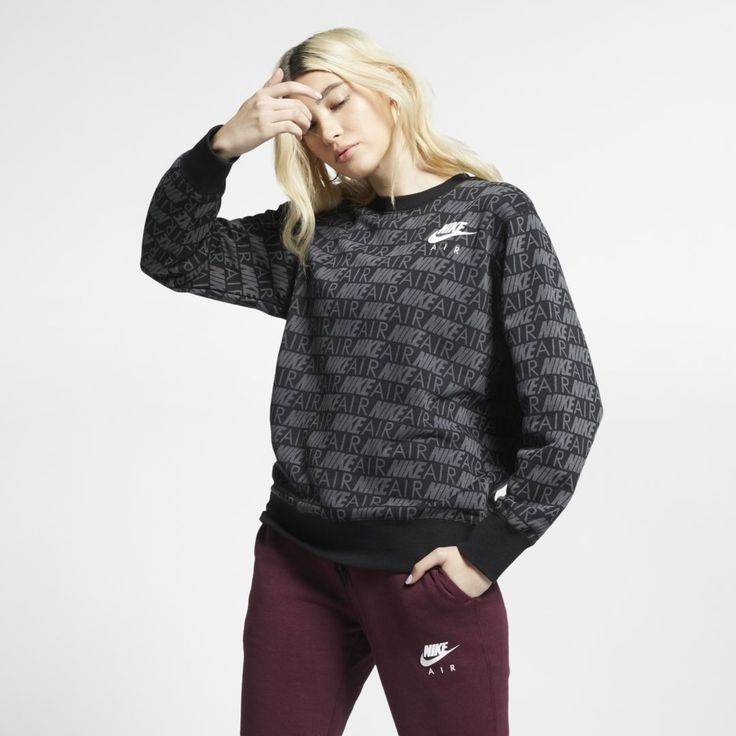 Nike Air Women S Printed Crew Size M Anthracite Nike Air Women Nike Air Nike Women