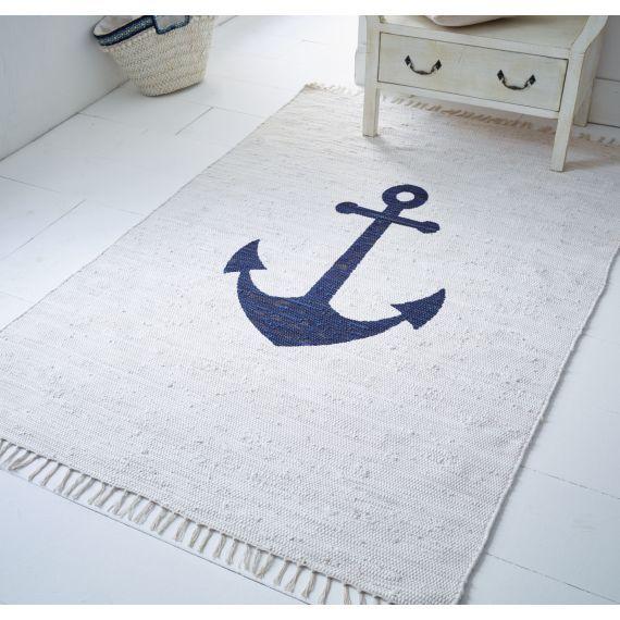 Teppich, Anker, mit Ankermotiv, Maritimer Look, Baumwolle