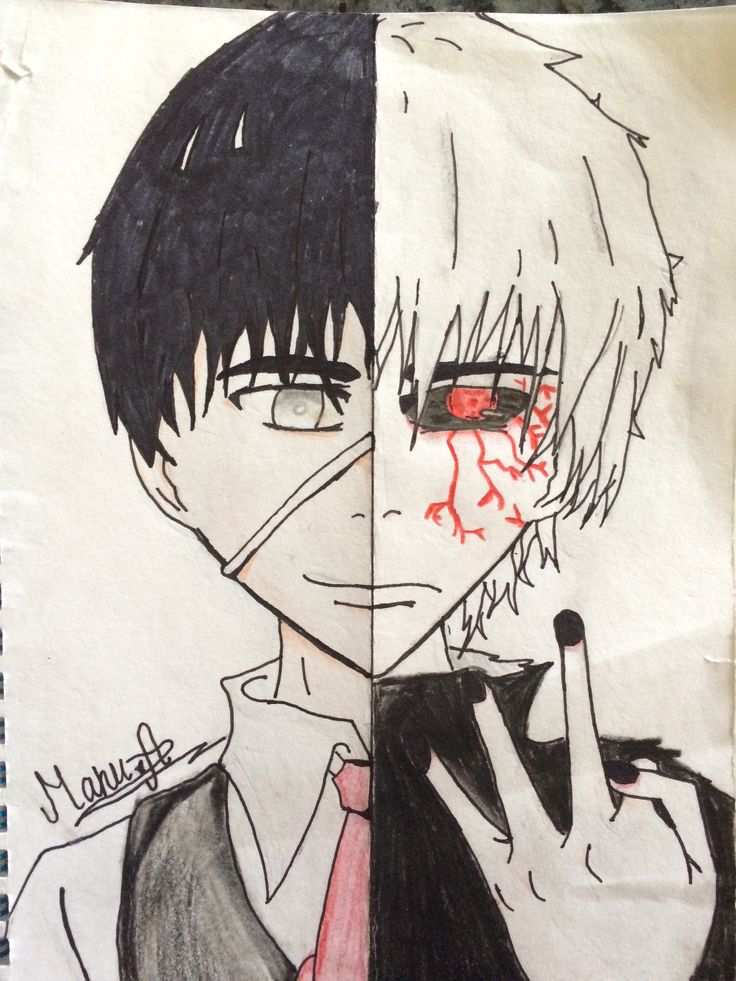 Tokyo Ghoul, Kaneki before and after.