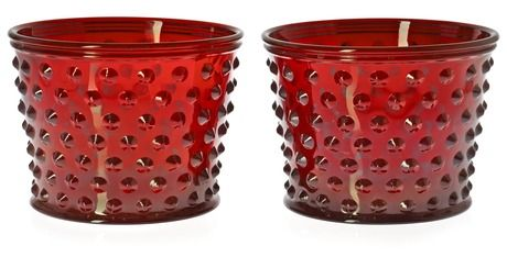 A pair of Josef Frank red glass pots by Svenskt Tenn.