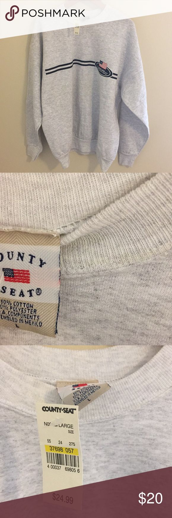 County Seat Vintage Sweatshirt Vintage, purchased in 1999 when stores closed, Heather gray, chest logo, crew neck, size large, new with tag, retail $24.99 county seat Shirts Sweatshirts & Hoodies