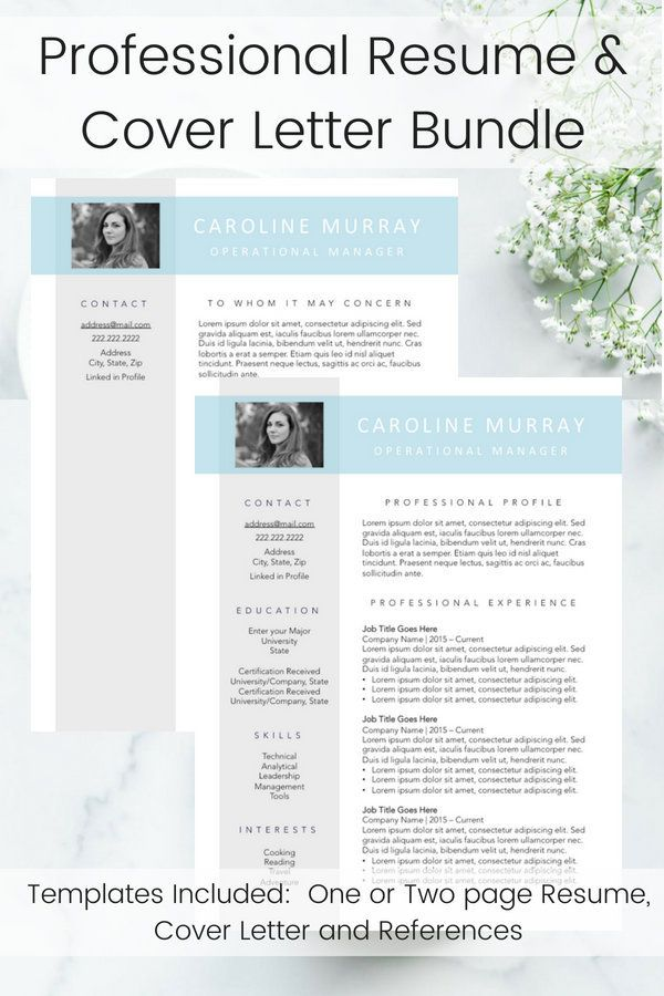 Resume Writing Template Professional Cover Letter Blue and Gray