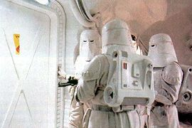 Cut scene. Snowtroopers about to encounter Wampa's behind a closed door.