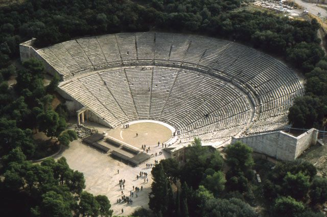 View of the theater of Epidauros in Greece. Classical archaeologist Hans Rupprecht Goette has spent years documenting ancient Greek theaters across the Mediterranean by plane—as well as by foot.