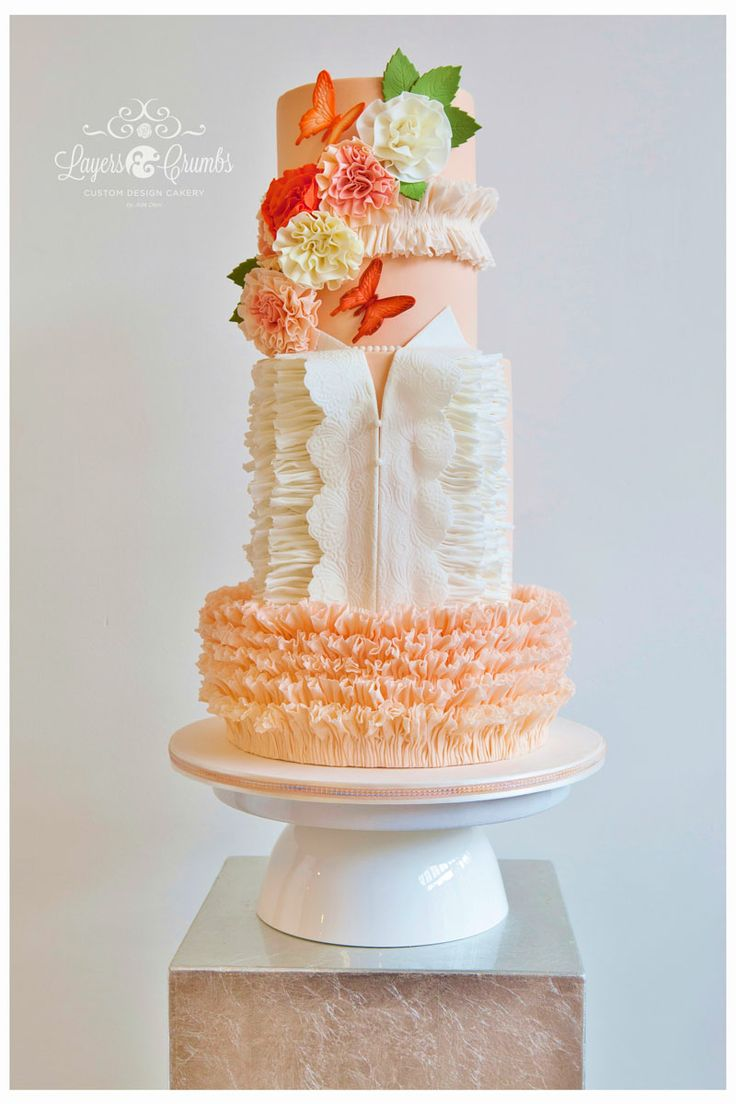 "Round Wedding Cakes - ""Butterfly Blush"" Wedding Cake for Cake Central Magazine Vol.4 - Issue 2"