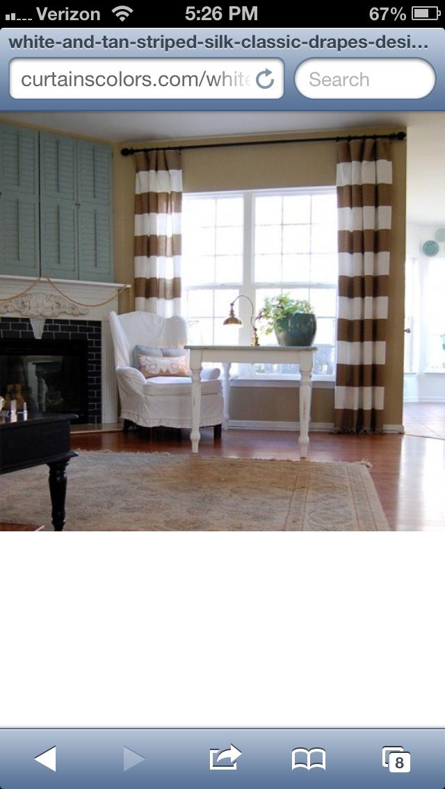 Tan White Horizontal Striped Curtains