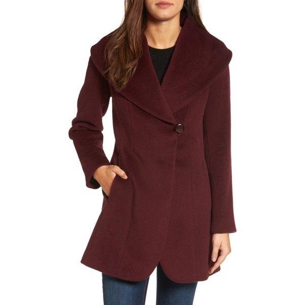 Women's Trina Turk Jemma Shawl Collar Coat ($350) ❤ liked on Polyvore featuring outerwear, coats, petite, wine, shawl collar coats, petite coats, trina turk, red coats and trina turk coat