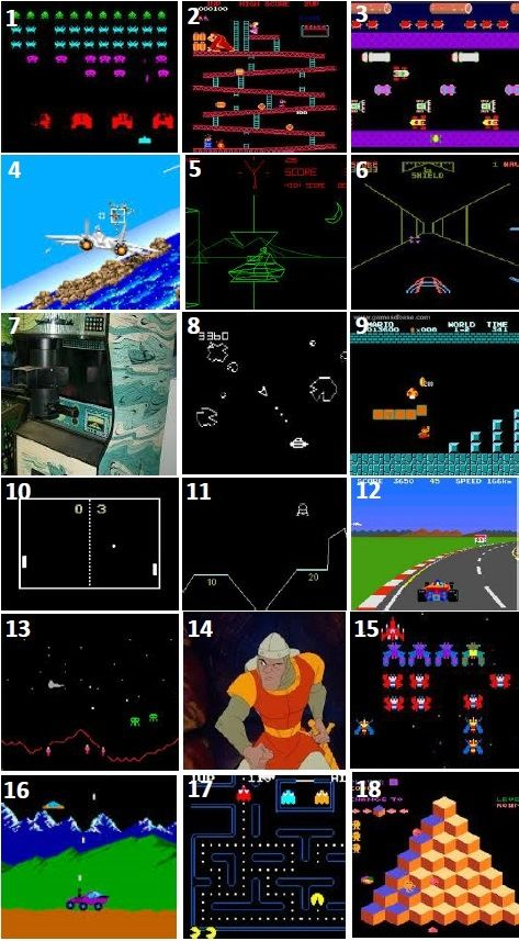 70s / 80s ARCADE GAMES - can you name any of these pioneering arcade games from the 70s and 80s?