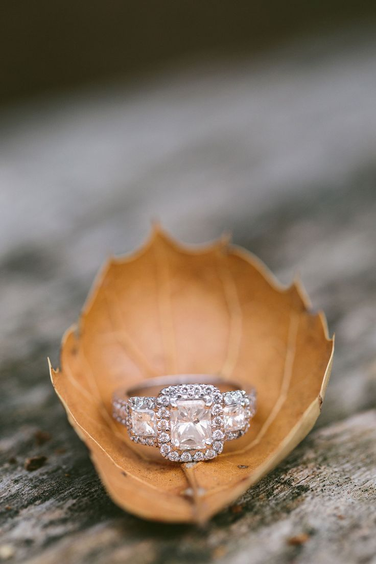 Emerald Cut Three Stone Engagement Ring with Halo || Jane in the Woods || Sedona Wedding Photographer || Sedona Engagement Photos in the Fall