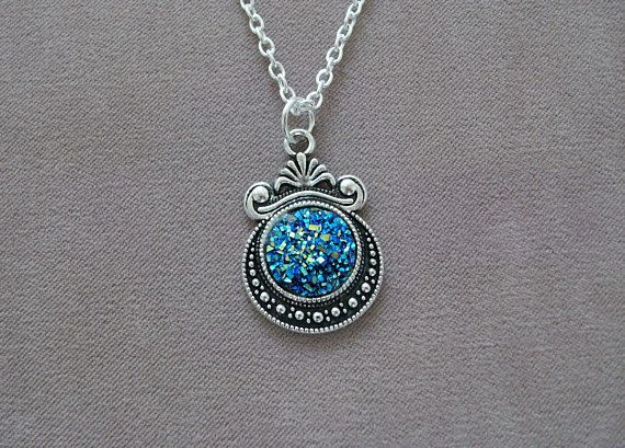 Beautiful Blue Druzy Resin Pendant with silver plated chain