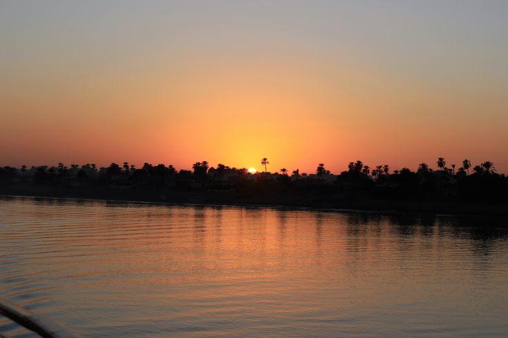 #Egypt #suneset #cruise #nature #beauty #bliss  A mesmerizing sunset captured from the cruise boat along the river Nile, Egypt