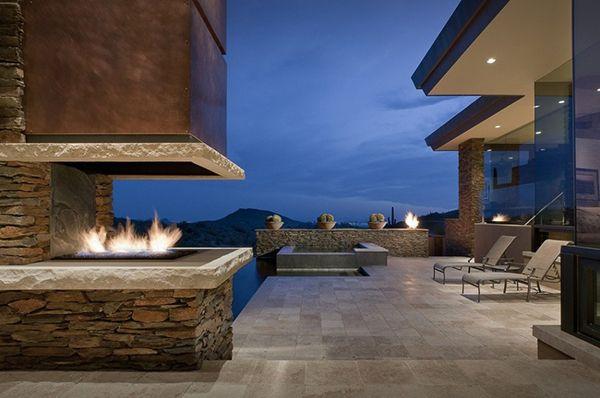 Modern Desert Homes | Modern Desert House stoney outdoor with fireplace Desert Home in ...