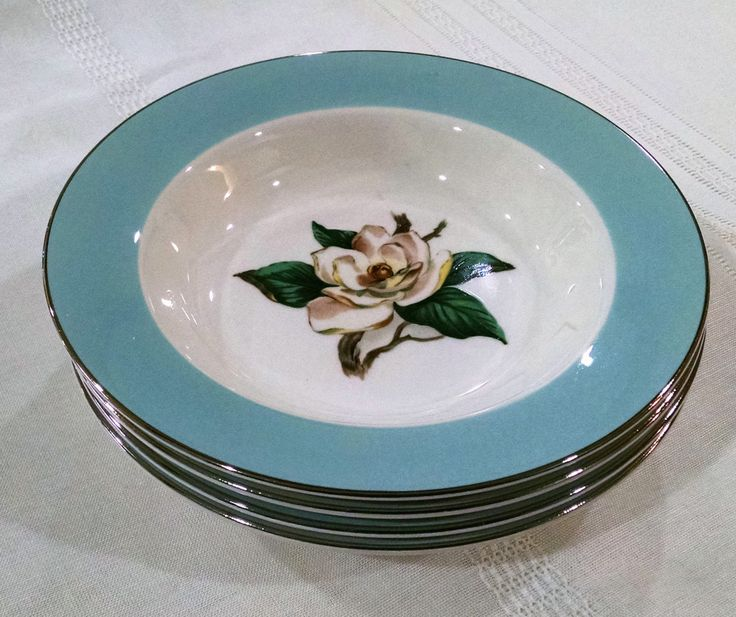Lifetime China Turquoise Soup / Salad Bowls - Set of Four - Magnolia with Silver Edge & 143 best Vintage Dinnerware images on Pinterest