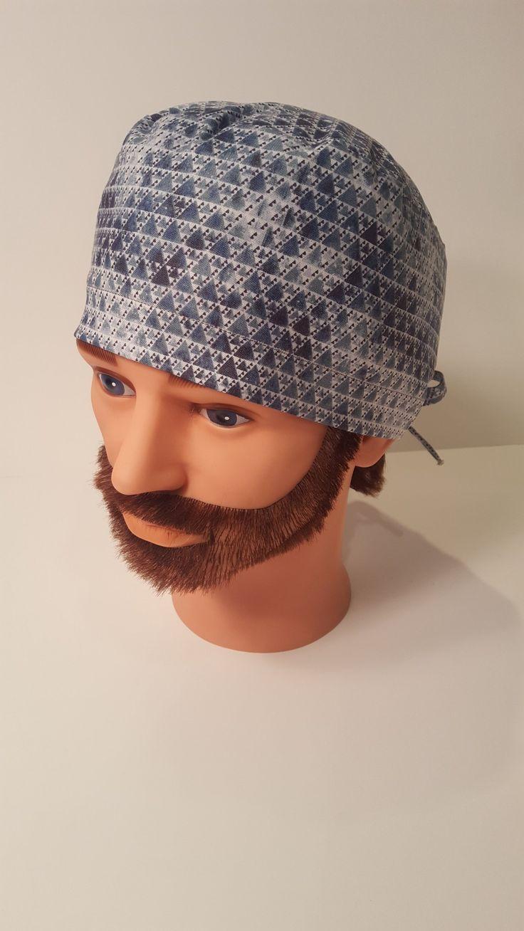 Blue Metal Mens Scrub Cap, nurse, chemo, surgical cap, uniform, chef, alopecia, unisex cap, OR caps, cotton, vet cap, outside mens