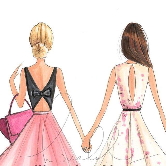 "Friday's w/my favorite blondie @teatrebicka ""Fashion With HeART"" on Etsy #fashionillustration #besties #hnicholsillustration"
